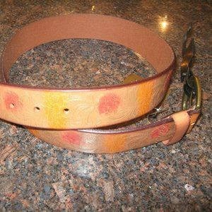 Patricia Nash Rare Embossed/Floral Lther Belt NWT